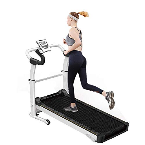 Cinta de correr mecánica plegable mecánica, pantalla LCD y soporte para dispositivos, manillar ajustable con absorción de impactos e inclinación