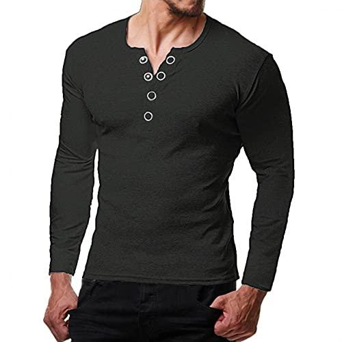 Camiseta de Manga Larga Hombre Blusa de Cuello en V con Botones Original Stretch Camiseta Sólida Round Neck Gris Oscuro/Verde Militar/Gris/Azul Primavera Otoño Invierno Camisetas Informales M-XXXL