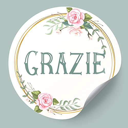 Adesivi Grazie Etichette Adesive in italiano 200 pz Sticker Thank You Chiudipacco chiudi busta Ringraziamento Rotonde 40 mm per Buste Pacchi regalo Matrimonio Compleanno Battesimo Comunione Bomboniere