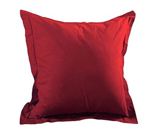 Lovely Casa T14820008 Alicia Taie avec Volant Coton Rouge 65 x 65 cm