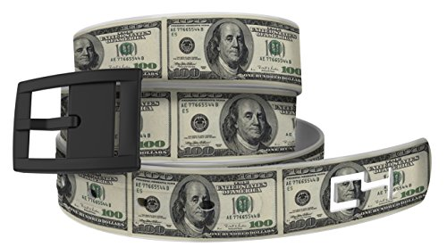 100 Bill Golf Belt with Black Buckle - Adjustable for Waist Size up to 44 Inch, Hypoallergenic - by C4 Belts