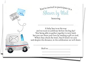 Baby Shower by Mail Fill in The Blank Invitations Virtual Shower Invites Boys It's a Boy Blue Facebook Zoom Facetime Skype Long Distance Virtual Party Drive by Parade Printed Cards (24 Count)