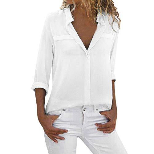 Daoope Maglie Donna Sexy Eleganti,Donne Manica Lunga Camicetta Loose Top Signore V Collo Ufficio Camicia di Lavoro (S, White)
