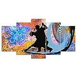 wangdazhuang 5 Paneles Cuadros Modernos Baratos Cuadro Salon Pareja De Baile De Tango Cuadro En Lienzo Decoración del Hogar Enmarcada Art-150X80Cm