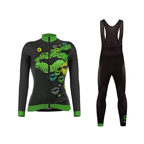 Uglyfrog Femmes Maillot à Manche Longue de Cycliste,Vélo Respirant Sechage Rapide avec Pantalon Collants Rembourré 3D Gel