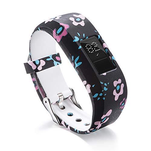 MyFitBands Ersatz-Sportarmband für Garmin Vivofit JR JR2 Junior, florales Muster, mit sicherem Gurt, Kinder, Pastel Flowers