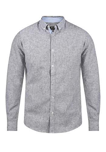 Indicode Luan Herren Leinenhemd Freizeithemd Hemd mit Button-Down-Kragen, Größe:XL, Farbe:Navy (400)