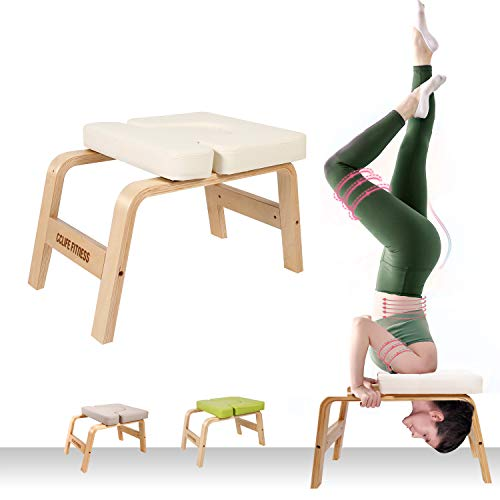 CCLIFE Yoga Kopfstandhocker Yogahocker Yogastuhl Kopfstand Holz Yoga-Hocker Hocker abnehmbar, Farbe:Weiss