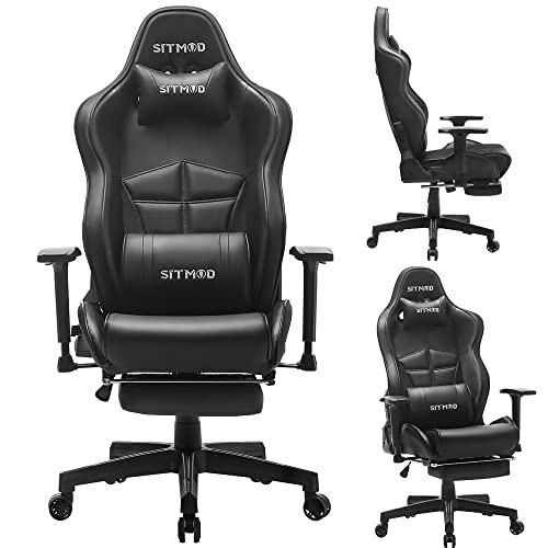 SITMOD Sedia Gaming Ergonomica, con capacità di 200 kg Poltrona Gaming e Sedia con Braccioli in Stile da Corsa da Ufficio con Massaggio Lombare(Nero)