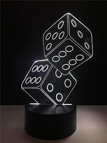 Lámpara De Ilusión 3D Con Forma De Dados Luz De Noche De Mesa De Escritorio Led Multicolor Con Botón Táctil Inteligente Y Amp; Colores De Control Remoto Que Cambian La Decoración 1pc