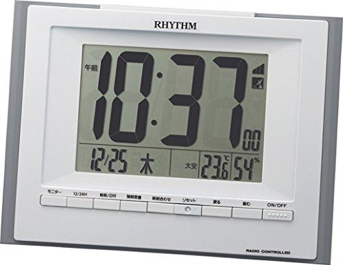 リズム(RHYTHM) 目覚まし時計 電波 デジタル フィットウェーブD168 置き掛け兼用 温度 湿度 カレンダー グレー RHYTHM 8RZ168SR08