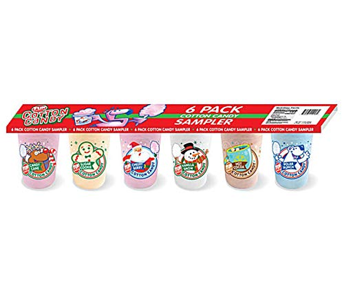 Fun Sweets (1) Pack Holiday Cotton Candy Sampler - Candy Cane, Sugar Cookie, Cherry Berry, Vanilla Snow, Hot Cocoa, Polar Punch Flavors - Reusable Mini Tubs - Net Wt. 9 oz
