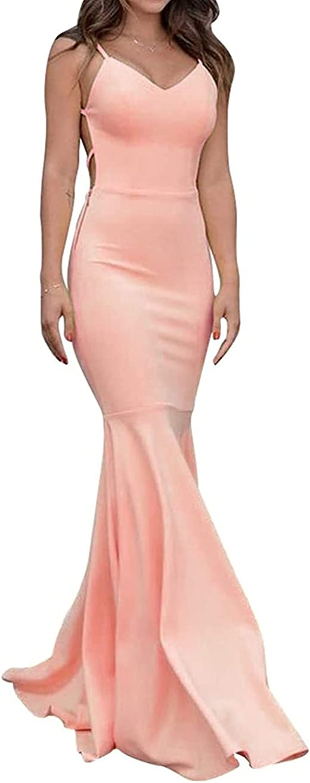Women Elastic 推奨 Mermaid Prom Dresses 2021 Open 大人気! Long Formal Back Ev
