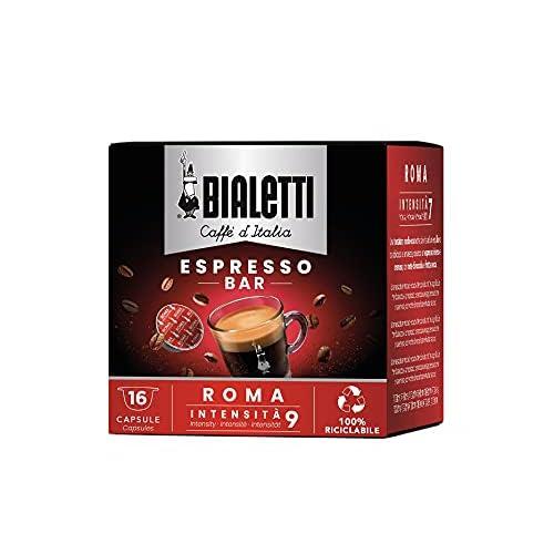 Bialetti Caffè d'Italia Roma con Gusto Intenso Compatibili con Macchine Espresso Bialetti, Confezione da 8 x 16 capsule