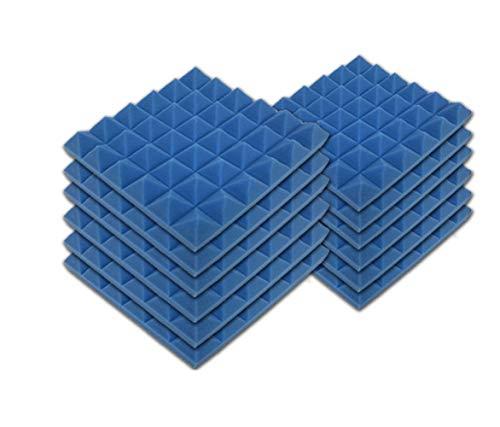 SK Studio Paquete de 12 Insonorizacion Pirámide Espuma Absorcion Aislamiento Acustica Paneles Tratamiento 30x30x2.5cm, Azul