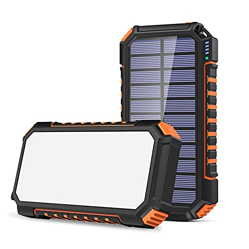 Chargeur Solaire 26800mAh, Riapow Batterie Externe Solaire avec 60 LEDs Brillantes et 3 Sorties USB Chargeur de Téléphone Solaire à Chargement Rapide pour iPhone Samsung Camping et Plein Air