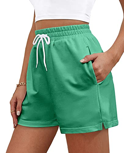 OFEEFAN Womens Shorts for Summer Workout Running Shorts with Pockets Training Green L