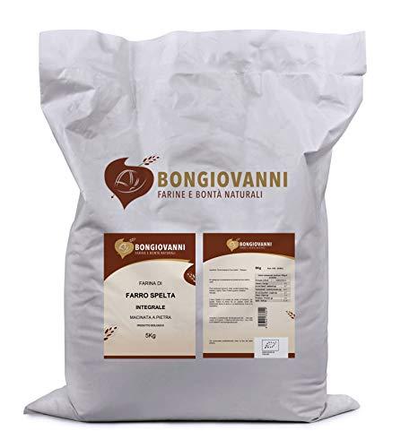 Bongiovanni Farine e Bontà Naturali - Farina di Farro Spelta Integrale BIO, per prodotti da forno dolci e salati - Formato da 5Kg