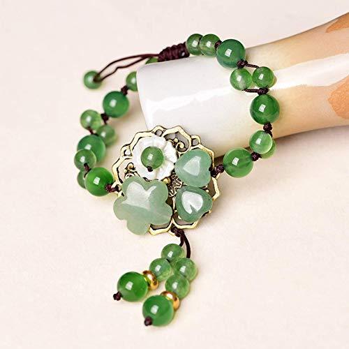 Natürlich,Feng Shui Natürliche Aventurin Jade Cyan Jade Armband mit Jade Blume und Muschel Armreif Für Frauen Verstellbarer Armreif Anziehen Glückliches Glück und Rei