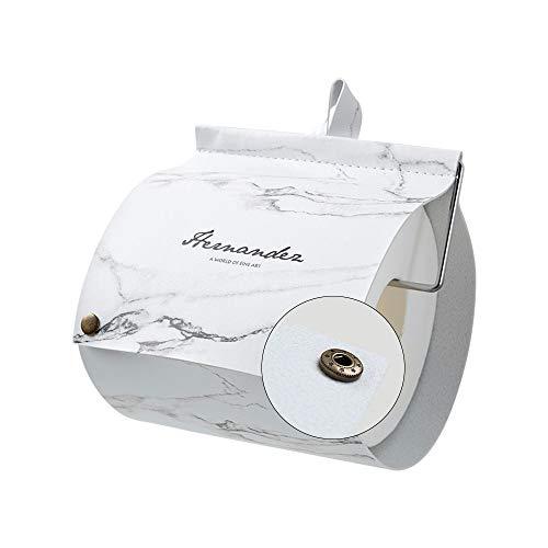 TentHome Ersatzrollenhalter Zeitschriftenhalter Toilettenpapierhalter Selbstklebend Klopapierhalter Toilette Rollenhalter WC Zubehör Ohne Bohren Rustikal PU Leder (Marmor)