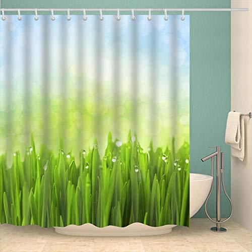 Duschvorhang 180X200 Grünes Gemüse Duschvorhang Anti-Schimmel & Wasserabweisend Shower Curtain, Duschvorhänge mit 12 Haken,Duschvorhang Textil Waschbar,Polyester