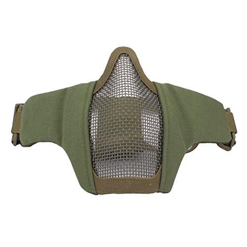 GES Faltbare Taktische Half Face Maske Outdoor Maske Schützende Mesh Riding Breathable Maske für Airsoft Paintball CS mit verstellbaren Gürtel Strap (Grün)