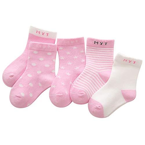 ANIMQUE ANIMQUE Kinder Baby Socken 0-12 Monate Jungen Mädchen Täglich Basic Baumwolle Crew-Socken 5er Pack Casual Schule Atmungsaktiv Bequem Rosa