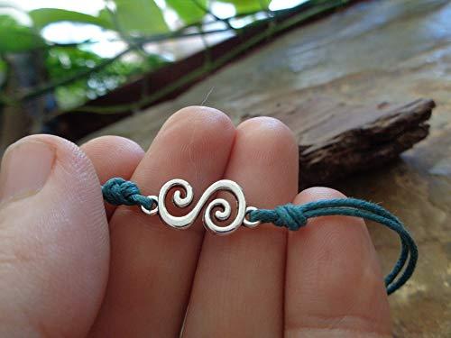 ❃ SPIRALEN IN FLASCHENGRÜN ❃ veganes Armband aus Bändern mit einmalig schöner Doppelspirale, unisex, auch für Männer und Kinder, einmaliges Geschenk, blaugrün