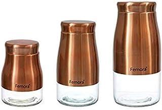 Femora Clear Glass Gold Metallic Steel Glass Jars for Kitchen Storage, 900ML,1300ML, 1750ML/(27Oz)(39Oz)(52.5Oz) Set of 3