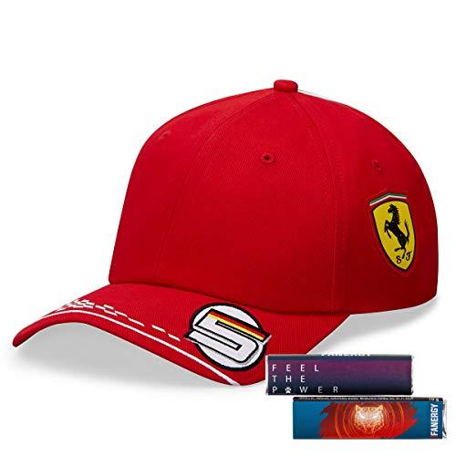Scuderia Ferrari Sebastian Vettel Cap 2020 Formel 1 Kappe Baseballmütze Kopfbedeckung rot + 4X FANERGY Traubenzucker
