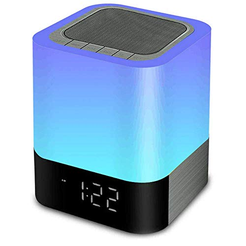 Cozy Night Light Bluetooth Speaker Portable Dimmable Touch Sensor Table Lamp with Alarm Clock,MP3 Music Player,USB,AUX Best Gift for Kids,Party,Bedroom,Outdoor