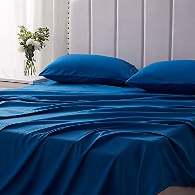 SNUGEESE HOME 4PC Bed Sheets Set Cal King Brushed Microfiber Fitted Flat Sheets with 2 Pillow Shams 16Inches Deep Pocket Soft Breathable Easy Washed Blue