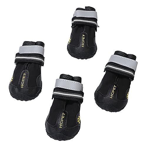 AIBAOBAO Zapatos Perro, Botas para Perros, Botas Protectoras de la Pata del Perro, 4 Pcs Zapatos Perro Antideslizante Deportes Botas de Escalada, para Largas Caminatas de Invierno