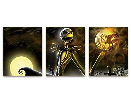 """Halloween Day of The Dead Skull Dead Abstract Art Painting Set of 3 ( 8""""X10""""Canvas Picture) Home Living Room Decor Pumpkin Halloween Decor Poster Wall Art Pictures Painting Room Home Decor Gift"""
