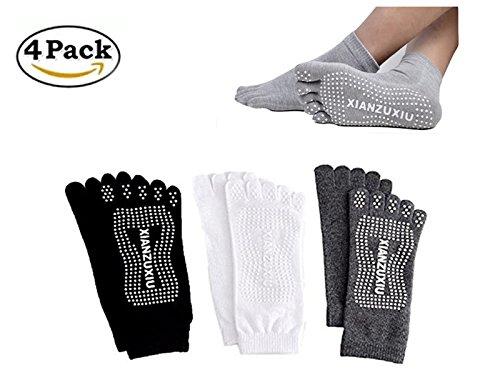 SANIQUEEN.G 4 Pares Hombre 5 Dedos Completos Calcetines Yoga Full Toe Antideslizante Agerre Dedos para Pilates Gimnasio Yoga (Grupo 2)