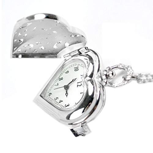 IUwnHceE Unisex-Taschen-Uhr-Weinlese-analog-Quarz-Herz-geformte Taschenuhr Filigree Blumen-Halskette-hängende Strickjacke-Ketten-Silber Exquisite Und Schöne Dekoration