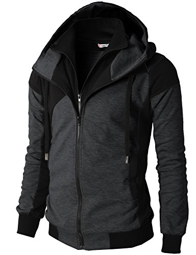 H2H Mens Hoodie Zip-Up Double Zipper Closer with Two Tone Color Charcoal US M/Asia L (KMOHOL076)