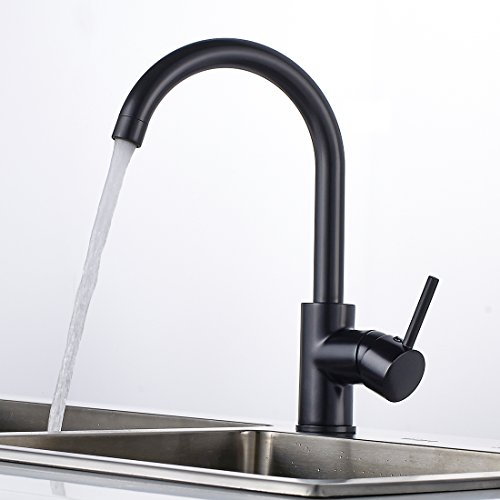 Gimili Wasserhahn Küche Küchenarmatur Schwarz Waschbecken Mischbatterie Schwarz für Spüle