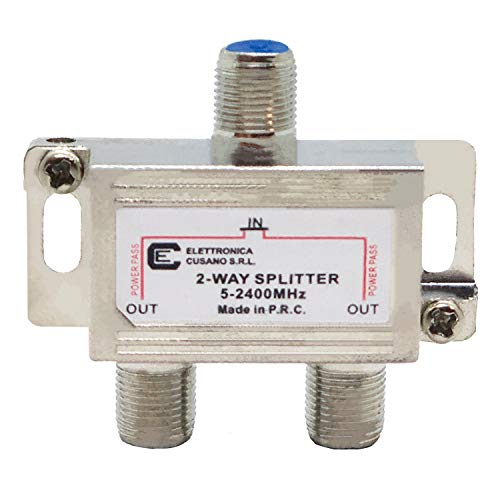 6233 - Splitter Satellitare 2 Vie, Partitore Antenna Tv da Interno con Connettore F, Splitter Satellitare, Ripartitore Antenna Tv, Partitore Tv Sat, Distributore di Segnale Terrestre e Satellitare