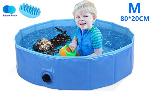 Pecute Paddling Pool for Pets & Kids Medium 80x20cm,Sturdy Foldable Dog Swimming Pool Bathtub...