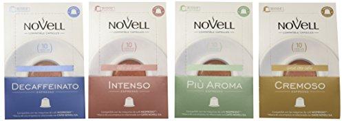 Cafes Novell, Cápsulas de café (Pack degustación) - 4 de 10 cápsulas (Total 40 cápsulas)
