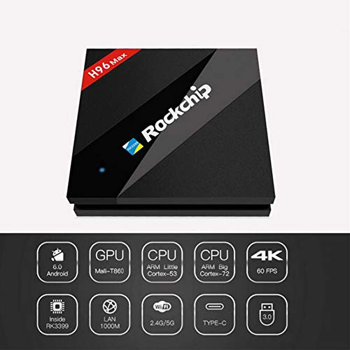 Android 6.0 TV Box, H96 MAX RK3399 Sechs Core 2.0G Dual Cortex-A72 + QuadCortex-A53 4 GB RAM 32 GB ROM Ultra HD 4K Auflösung 2.4/5 GHz WiFi 100M LAN Smart Media Player