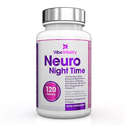 Neuro Night Time Complex 5-HTP, Magnesium & Natural Melatonin Source Sleeping Aid 120 Coated Tablets - Suitable for Vegans