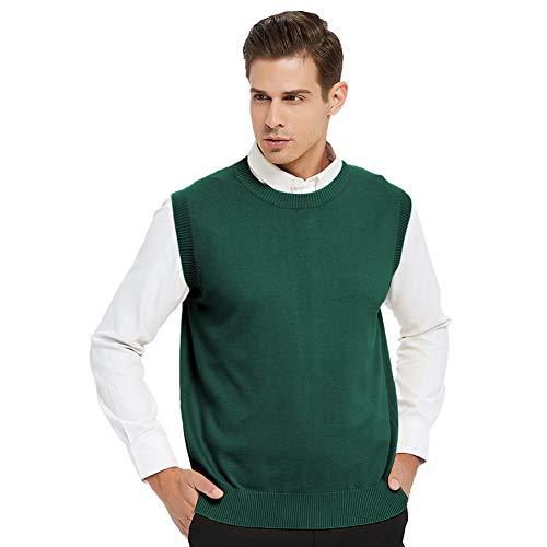 TOPTIE Men's Business Sweater Vest Cotton Jumper Top-Green-M