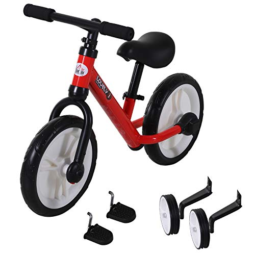 HOMCOM 11 Inch Kids Balance Bike Training Pedal Bicycle W/ Removable Stabilizers EVA Tyres Adjustable Seat Height 2 to 5 Years Red