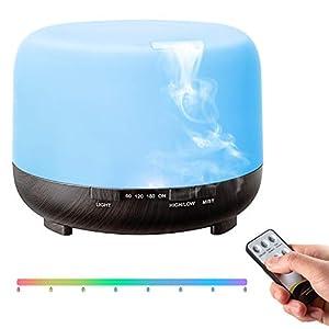 TopEsct Diffusore Atomizzatore di essenze e aromi ad Ultrasuoni 500ml,Umidificatore con 7 colori LED selezionabili, Purificatore aria per Yoga, Camera da Letto, Soggiorno, Sale Conferenza