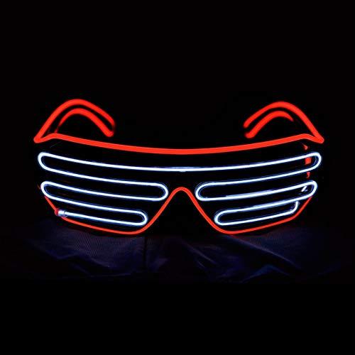 occhiali neon KingCorey Glow Shutter Occhiali Neon Rave Occhiali da Sole a LED El Wire Lampeggianti Illuminano Costumi DJ per Party