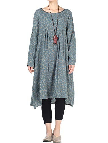 Mordenmiss Women's Flowers Floral Pleated Fall Casual Dress with Pockets (XL, Long Sleeve-Green)