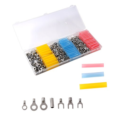 Walfront Heat Shrink Wire Connectors- 530Pcs Connectors & 135Pcs Heat Shrink Tubes - Electrical Terminals Kit - Marine Automotive Crimp Connector Assortment - Ring Fork Butt Splices-With Box