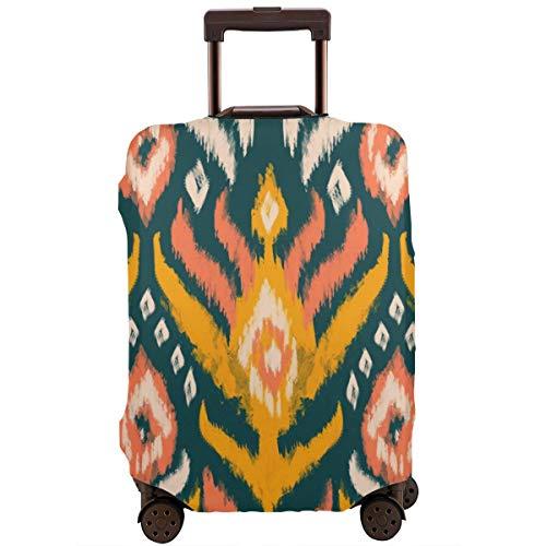 Funda Protectora para Maleta Ikat Textil Acuarela Motivos Étnicos Rayas Rombo Inferior Adorno Protector de Maleta de Viaje L
